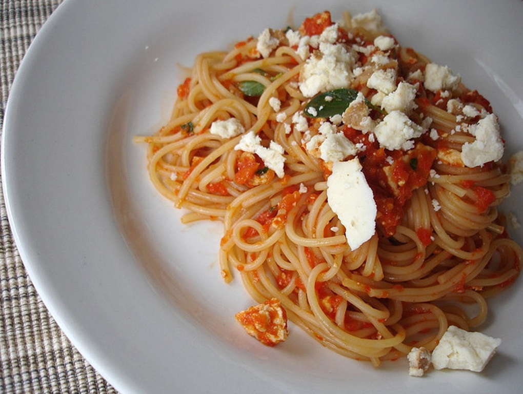 Pasta with three cheeses